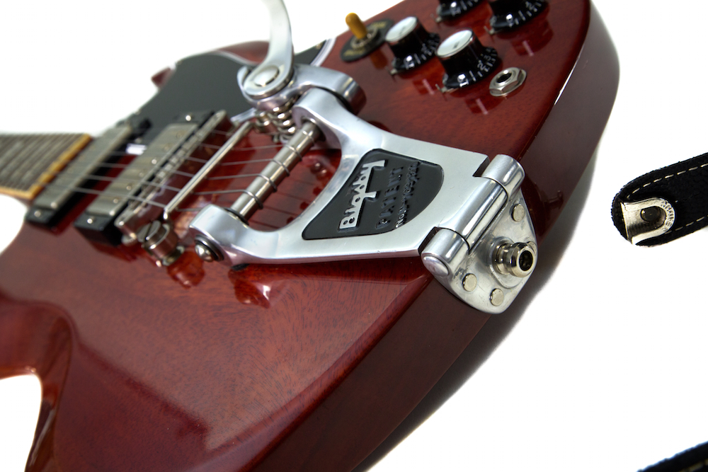 BIGSBY B3 installed on a 1961 Gibson SG Reissue Towner Hinge Plate Adaptor